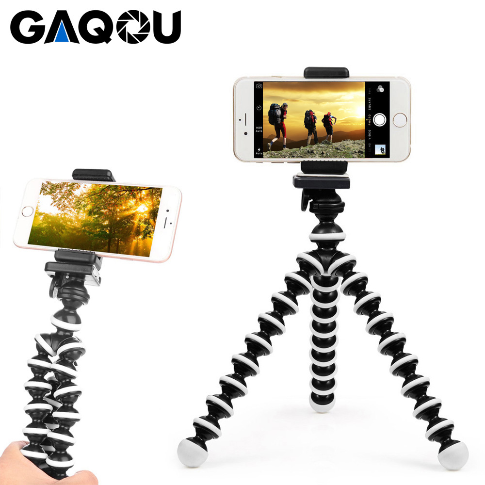 GAQOU Mini Octopus Tripod Bracket Portable Flexible Phone Holder For Gopro Camera Mobile Phone Tripods Foldable Desktop Stand