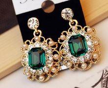 Korean Womens Jewelry Pearls Vintage Fashion Square Earrings Stud серьги