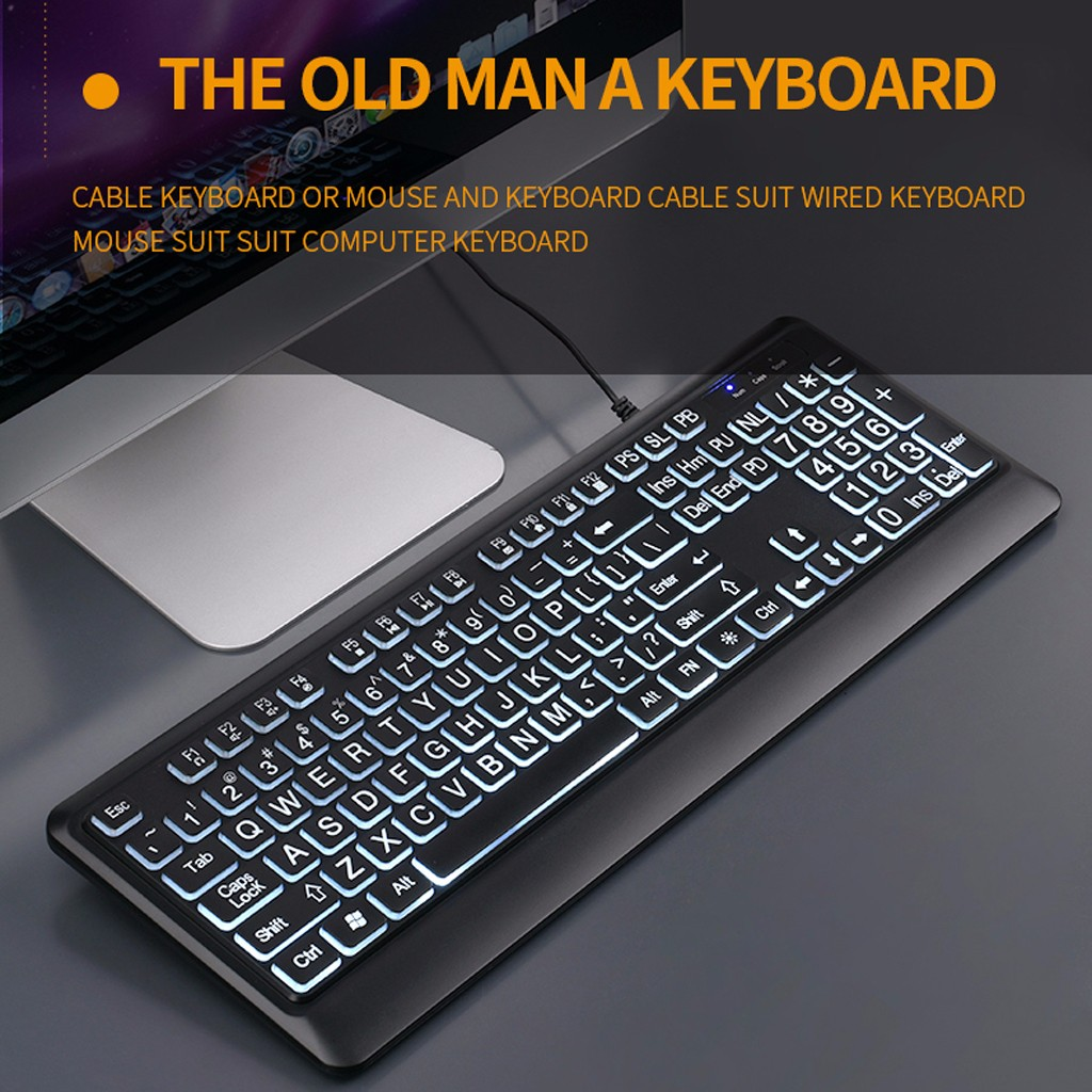 Wired Gaming Keyboard Backlit Keyboard Wired Keyboard Ideal For Office Desks Workstations Black USB Wired For Desktop Laptop#g3