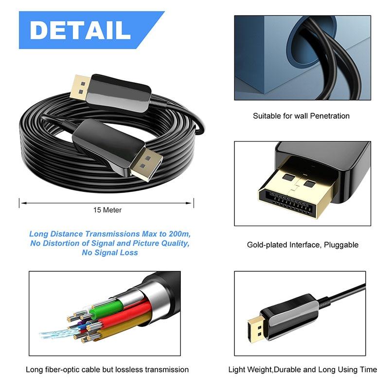 100M Harwls Displayport Fiber Cable 8K 60Hz Slim Flexible Fiber DP to DP Cable de Alta Velocidad, EU