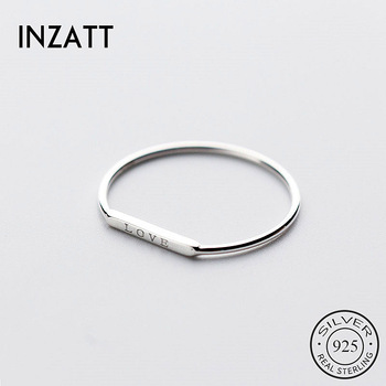 INZATT Real 925 Sterling Silver Love Letter Ring For Fashion Women Party Cute Fine Jewelry Minimalist Accessories 2020 Gift 1
