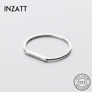 INZATT Real 925 Sterling Silver Love letter Ring For Fashion Women Party Cute Fine Jewelry Minimalist Accessories 2020 gift