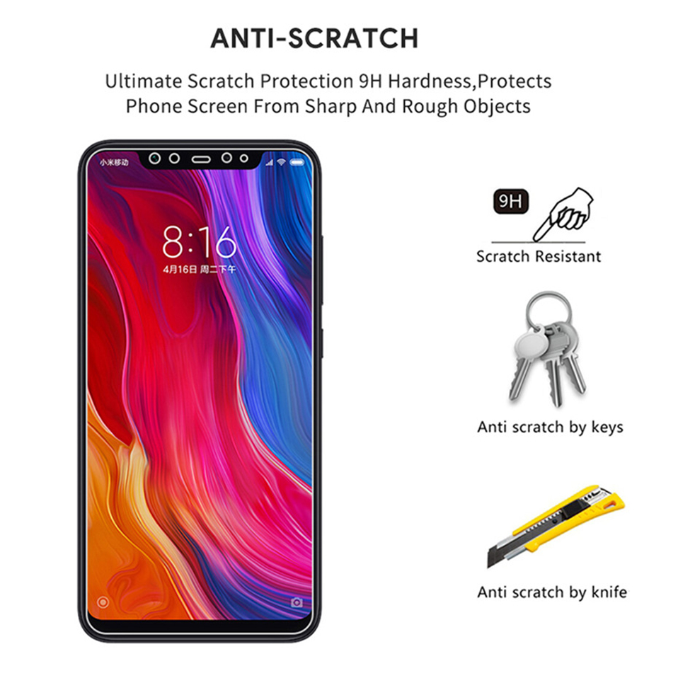 Glass Film on For Xiaomi redmi note 5 6 7 8 pro 8t  Tempered Glass Screen Protectors (4)