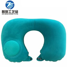 Spot cute fashion flocking press automatic inflatable U-shaped pillow travel neck lunchtime TV ring