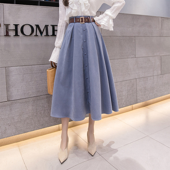 Autumn Winter Suede Velvet Skirt Female 2020 Midi Long Elegant Korean High Waist Skirt Women Blue A-line Pleated Skirt diamond striped pleated skirt fashion elastic waist a line elegant long skirt for women autumn winter streetwear patchwork skirt