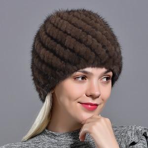 Image 5 - winter womens mink fur hats natural real fur knitted cap fashionable fluffy ladies genuine fur beanie female black fur caps