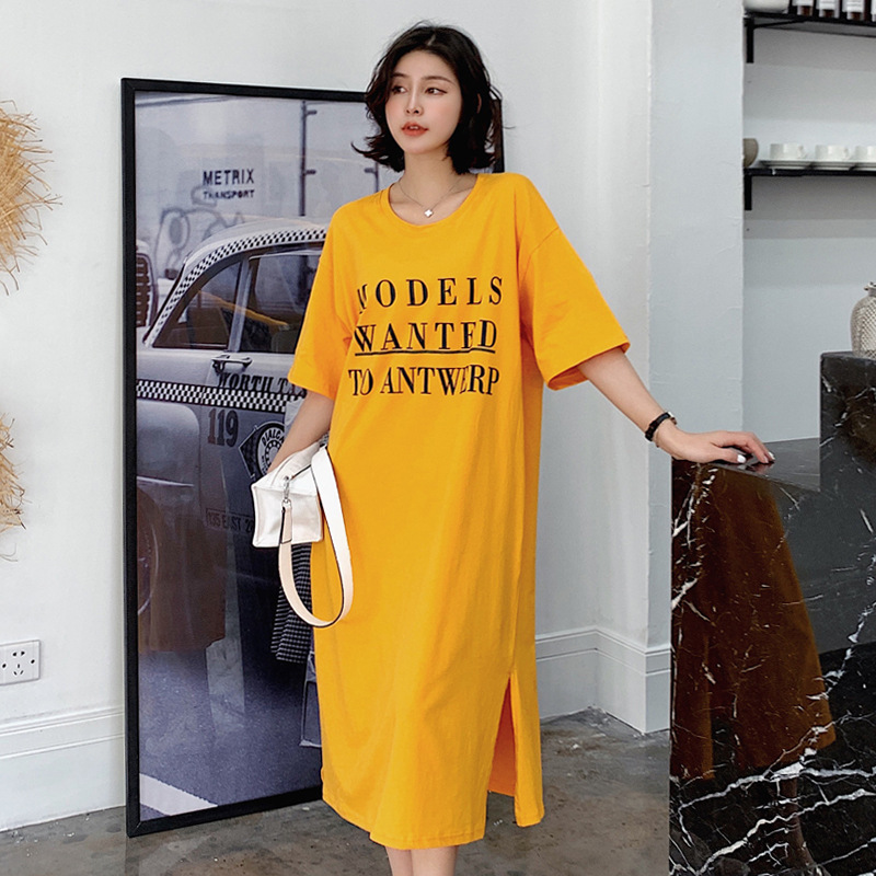 2019 New Style Slit Full Body Dress Lady Dress Backless Over-the-Knee T-shirt One-piece Long Skirts INS Fashion Summer