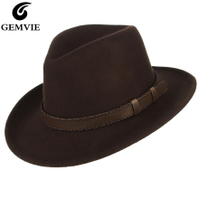 GEMVIE Мужская/Женская шерстяная фетровая шляпа с широкими полями, фетровая шляпа с кожаным поясом, осенне-зимняя ковбойская шляпа для всех сезонов