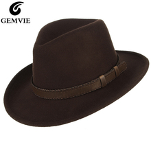 GEMVIE Men/Women Wide Brim Wool Felt Outback Hat Fedora With Leather Belt Band A