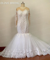 High Quality Sequined Lace Mermaid Wedding Dress Pearl Beaded Bridal Gown with Long Sleeves Factory Real Photo