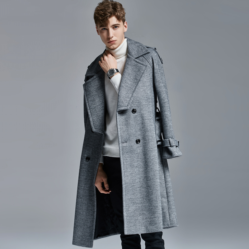 Men Long Wool Trench Luxury Autumn Winter Double Breasted Mens Jackets And Plus Size 6xl Slim Fit Male Coats