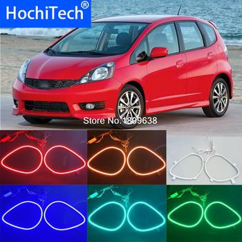 for honda fit jazz 2009 2010 2011 2012 2013 RGB LED headlight rings halo angel demon eyes with remote controller