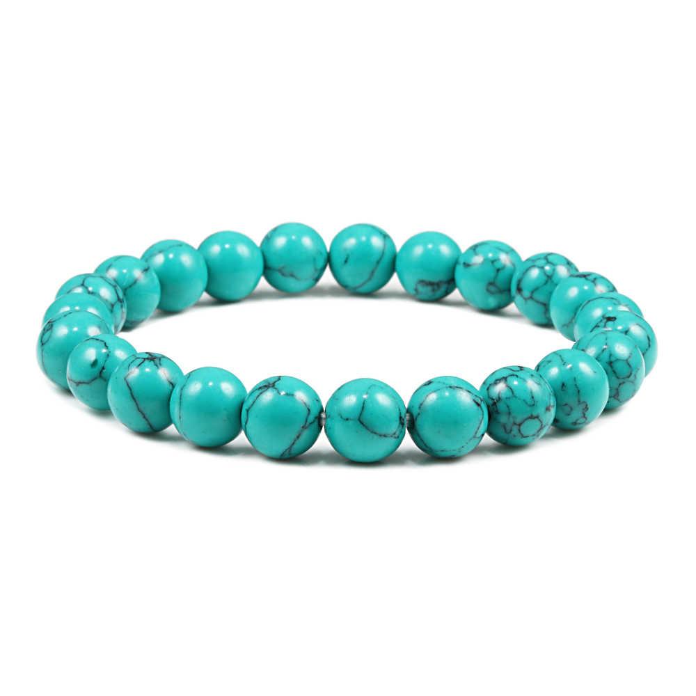 Charm Nam Nữ Vòng Tay Xanh Màu Turquoises Đá Tự Nhiên Hạt Sợi Đàn Hồi Lắc Tay Tập Yoga Trang Sức Quà Tặng Pulseras