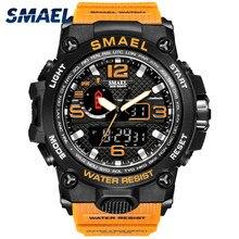 SMAEL – montre de Sport pour hommes, originale, double affichage de l'heure, rétro-éclairage, chronomètre électronique, 1545, populaire