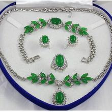 Благородная Посеребренная зеленая Нефритовая Серьга браслет ожерелье кольцо набор
