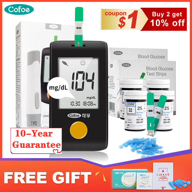 Cofoe Yiling Mg/dl Glucometer Medical Blood Glucose Meter Diabetes Blood Glucose Test Strips And Lancet Household Glucose Meter