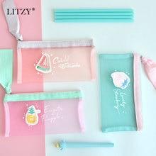Storage-Bag Pencil-Case Transparent Canvas Cute Stationery Zipper School Mesh Fruit Watermelon-Pen-Bag