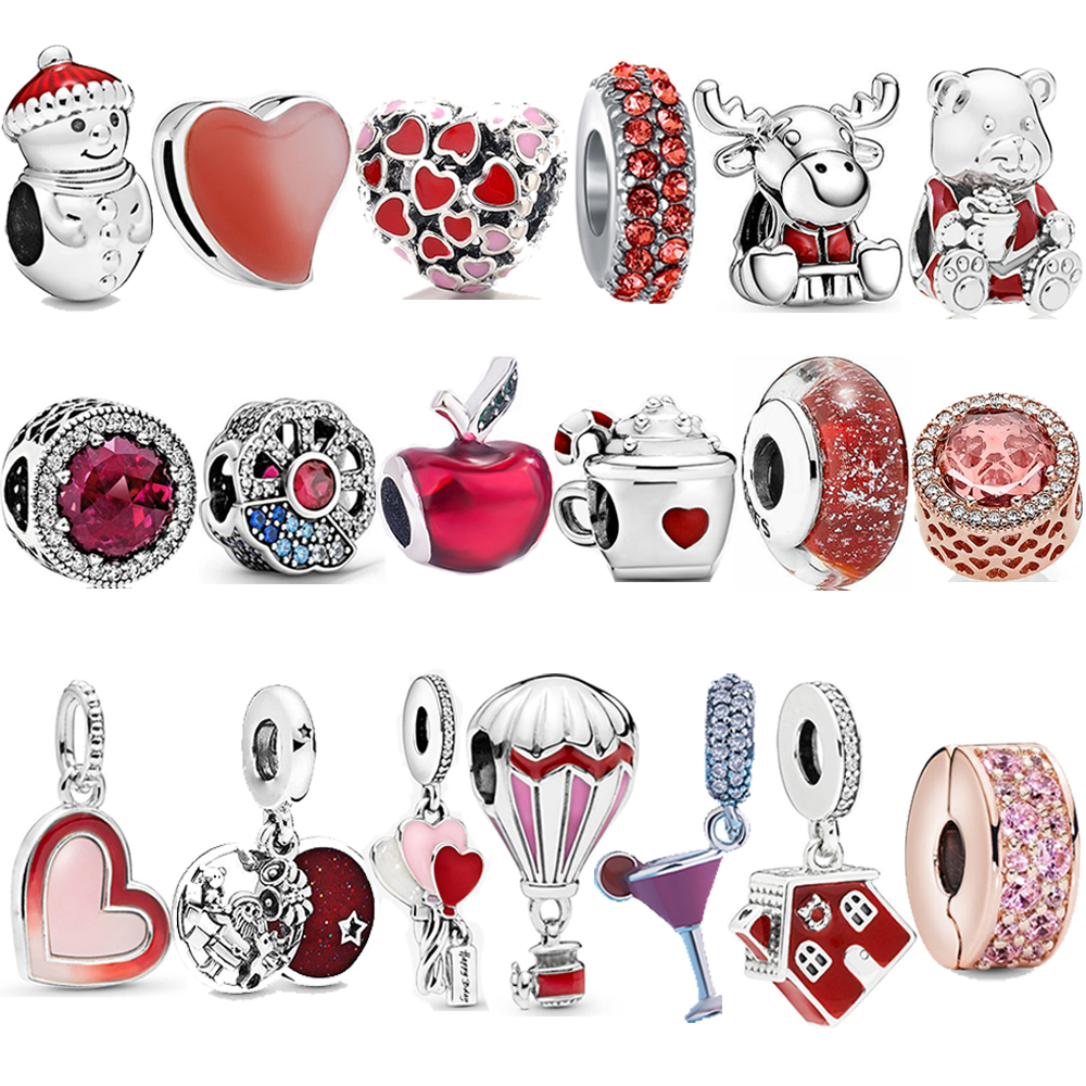 Hot Sale Real 925 Sterling Silver Classic Cartoon Express Train Red Beads Charms Fit Pandora Bracelet Charms Jewelry S925 Gift