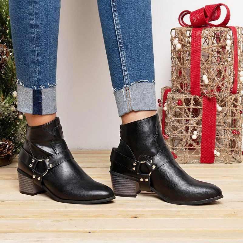 Oeak PU deri yarım çizmeler tokaları kalın topuk siyah yarım çizmeler kadın çivili kadın botları dekore motosiklet 2019