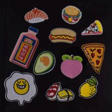 New Poached Egg Sushi Hot dog Pizza Fruit Avocado Embroidery Food peach Patches for Clothing Iron Kids Clothes Appliques Badge(China)