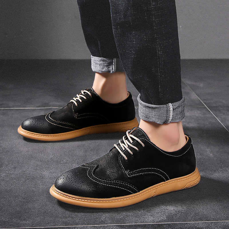 Image 5 - Men Flat Hollow Platform Shoes Oxfords British Style Creepers Brogue Shoe Male Lace Up Footwear Plus Size 38 46 Casual ShoesFormal Shoes   -