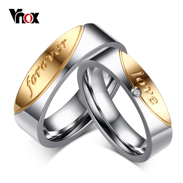 "Vnox ""love forever"" Wedding Rings for Women Men AAA CZ Stone Gold-color Couple Promise Band Alliance Bijoux"