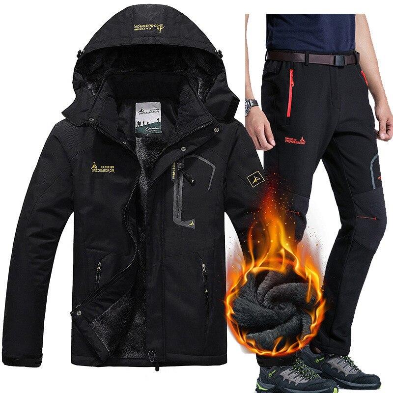 Winter Ski Jackets suits Men Waterproof Fleece Snow Jacke Thermal Warm Coat Outdoor Mountain Skiing Snowboard  Pants suits