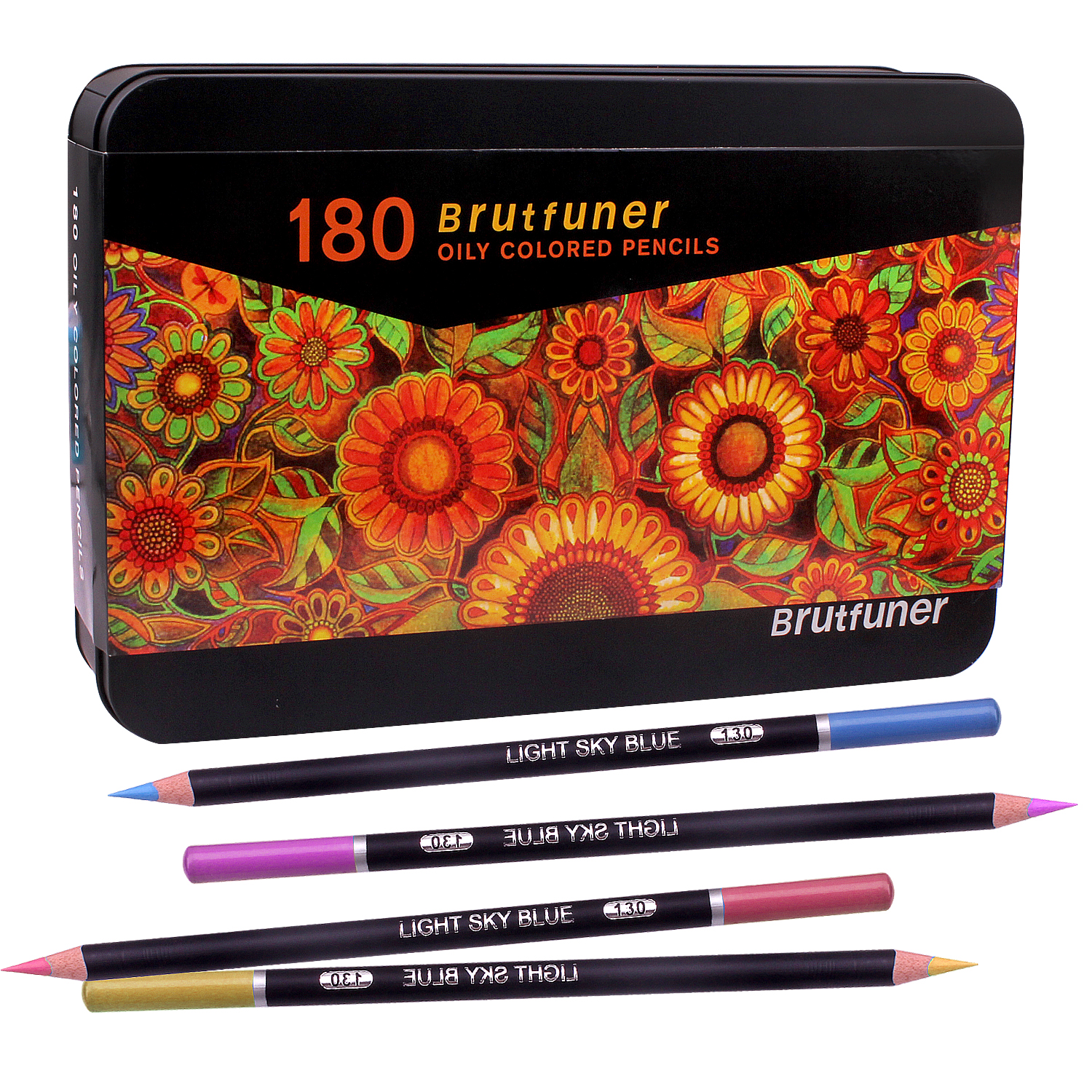 Colouring Pencils with Metal Box,180 Unique Coloured Pencils and Pre Sharpened Crayons for Coloring Book - Ideal Christmas Gift 2