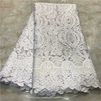 Fashionable white apparel lace African party tulle cloth with rhinestones French net fabric for dress  VRN252(5yards/lot)