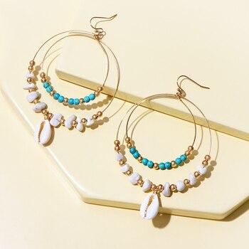 KOMi Bohemian Turquoises Earrings Beads Shell Rhinestone Crystal Double-layers Drop Earring for Women Jewelry Gift G0212