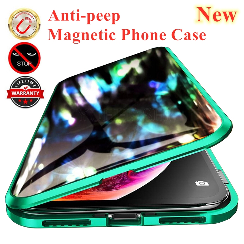 Magnetic Metal Privacy Tempered Glass Phone Case For Samsung galaxy S20 Note 10 Plus 8 9 S10 S9 S8 For Samsung S20 Ultra S10 5G