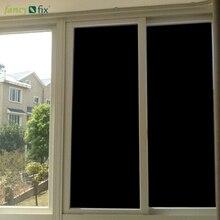 FANCY-FIX Blackout Window Film,Frosted Privacy Heat Control All Black Glass Film,100% Light UV Block Window Vinyl 75cm Width