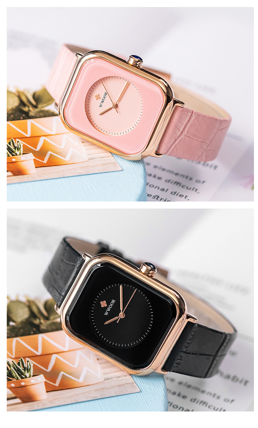 WWOOR 2020 Women Watches Top Brand Luxury Women Quartz Wristwatch Fashion Elegant Black Leather Watch For Women relogio feminino