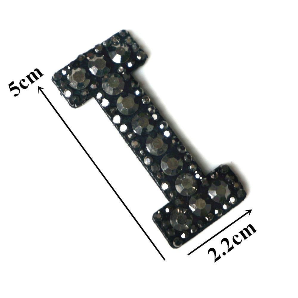 Черные стразы 26 букв алфавита ABC пришить железные нашивки блестящие Значки для имени DIY платье джинсы Аппликации украшения - Цвет: I