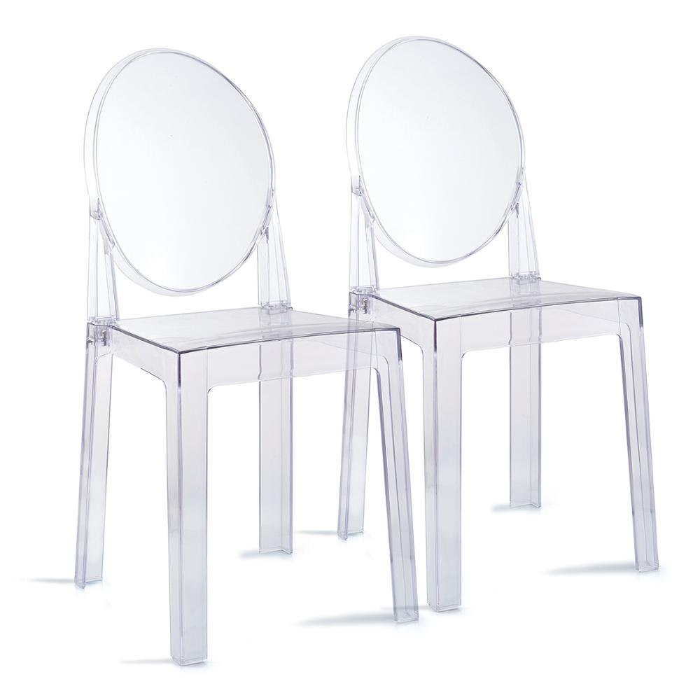 Set of 6 Dining Chairs Transparent Crystal Ghost Chair with Oval Back Modern Makeup Dressing Chair Stackable Garden Chairs Set 7