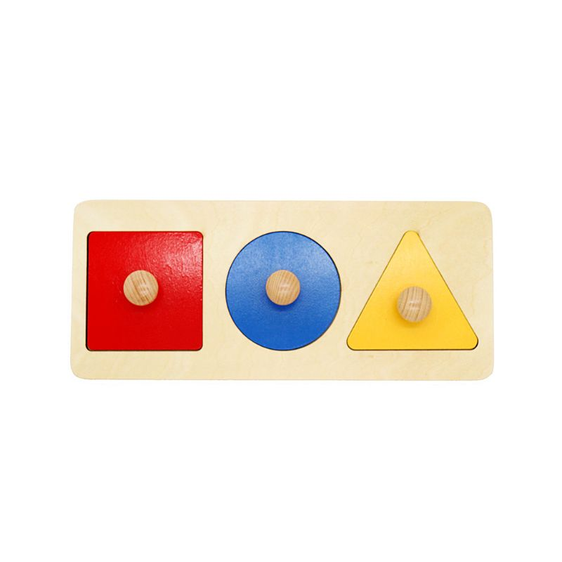 Montessori Round/Triangle/Square Stacking Matching Board Geometry Puzzle Toy Early Educational Tool