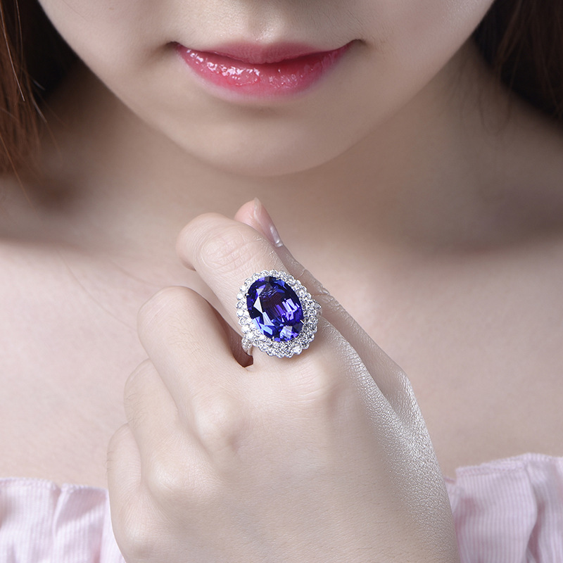 Solid Silver S925 Sterling Natural Sapphire Ring for Women Fine Silver 925 Jewelry Bizuteria Gemstone with Cushion Zirconia Ring