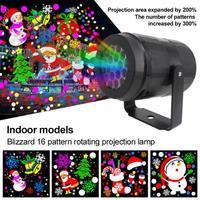 16 modèles nouvel an décoration de noël LED projecteur Laser lumière flocon de neige Elk lampe de Projection scène éclairage extérieur intérieur