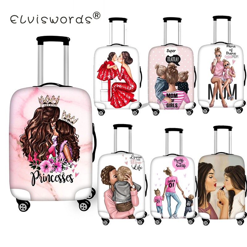 ELVISWORDS Super Mom Prints Luggage Protective Covers Case For SuitcaseTravel Accessories Trolley Apply To 18-28 Suitcase Cover