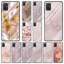 Gehärtetem Glas Fall Für Samsung Galaxy A51 A71 A50 A70 A31 A21s A30 A12 M31 A02S Luxus Telefon Abdeckung Funda rose Rosa Bling Shell