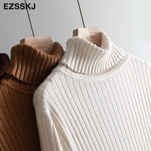 Image 5 - Vestido largo femenino de Otoño de talla grande de manga larga, jersey básico largo recto con cuello de tortuga, vestido suelto tipo jersey, 2019
