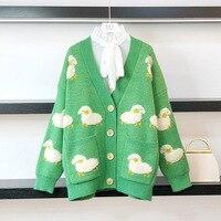 Maglione cappotto Casual donna cartone animato Cardigan lavorato a maglia autunno inverno monopetto scollo a v coreano di pigro windLoose maglieria cappotto