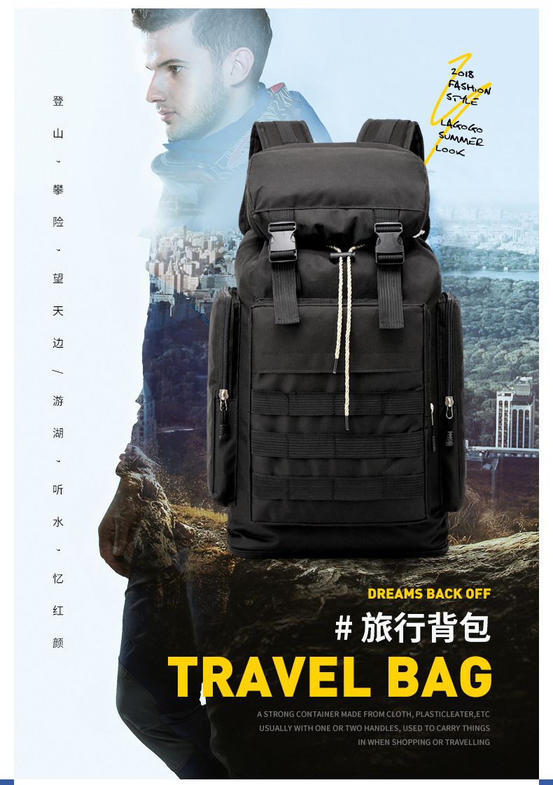 Oversized Mountaineering Bag Professional Camouflage Hiking Pratical Canvas Outdoor Backpack