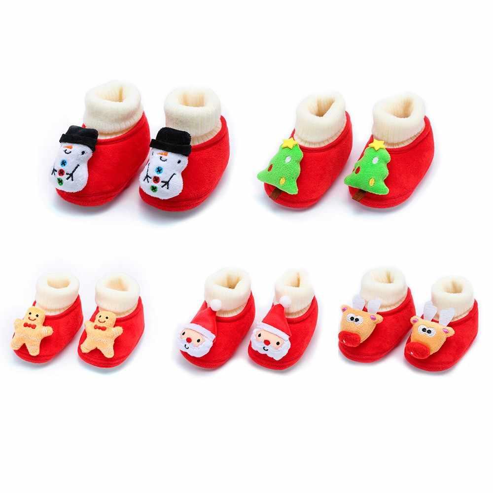 คริสต์มาสใหม่เกิดเด็กทารกเด็กรองเท้านุ่มอุ่นทารกแรกเกิดเด็กวัยหัดเดินรองเท้าเด็กทารกรองเท้าเด็ก 2019 First walkers