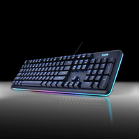 Cool Black & Blue Wired Mechanical Gaming Keyboard RGB LED Backlit 104 Keys Illuminated Keyboard with Type-C USB Waterproof