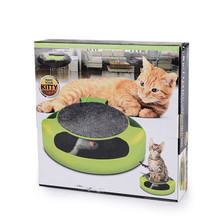 Cat Toy Mouse Squeak Puzzles Amusement Disk Crazy Scratches Interactive with a Running Mice and Scratching Pad