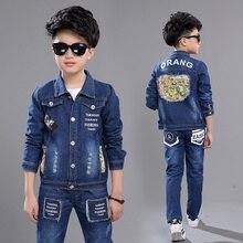 2019 boys Clothing Set Autumn Boy's map printed denim set cotton Denim Long Sleeve Jacket+ pant +shirt 3pcs set LZY2010 цена