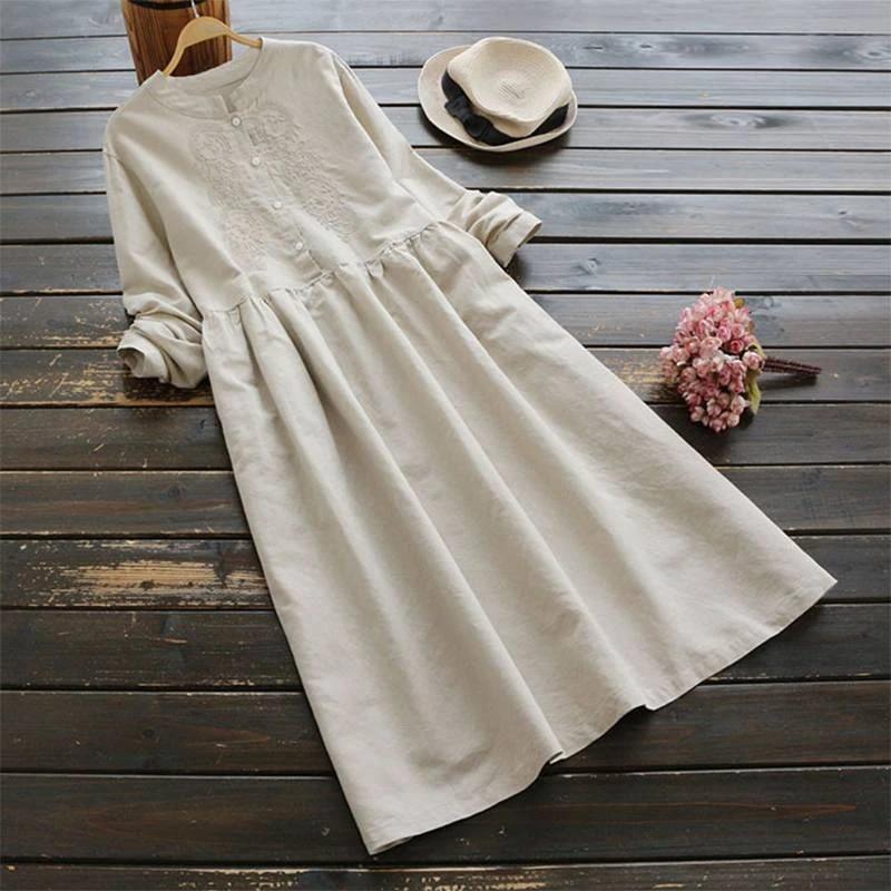 ZANZEA Womens Long Sleeve Embroidery Casual Loose Kaftan Tunic Baggy Maxi Dress