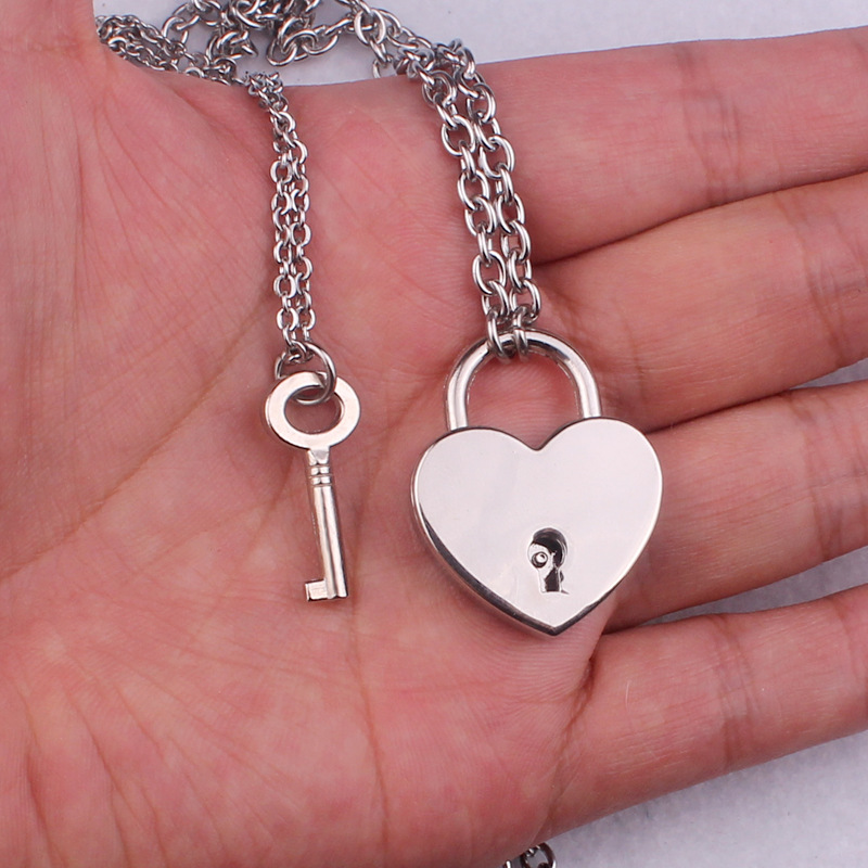 H530af6228cb840968fef9dc900cf1347n - New layered chains hiphop Punk Stainless Steel Padlock Necklace men rock heart Lock with key Necklaces for women