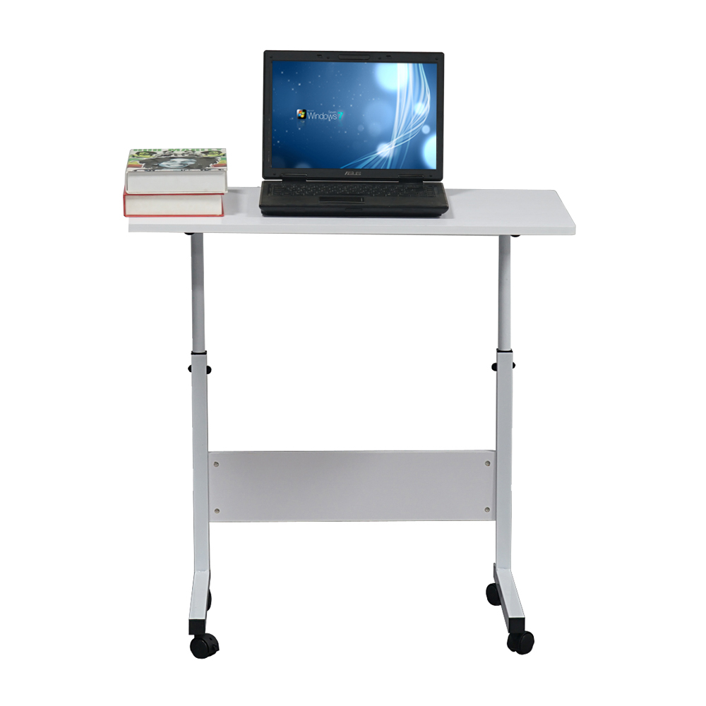 【US Warehouse】Removable P2 15MM Chipboard & Steel Side Table With Baffle White(Computer Desk Table)